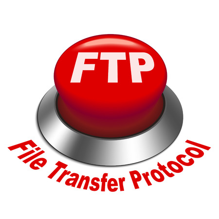 ftp: 3d illustration of FTP   File transfer Protocol   button isolated white background