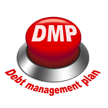 debt management: 3d illustration of dmp debt management plan button isolated white background Illustration