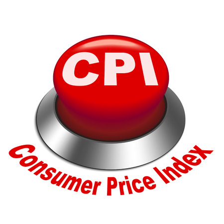 inflation: 3d illustration of CPI   Consumer Price Index   button isolated white background
