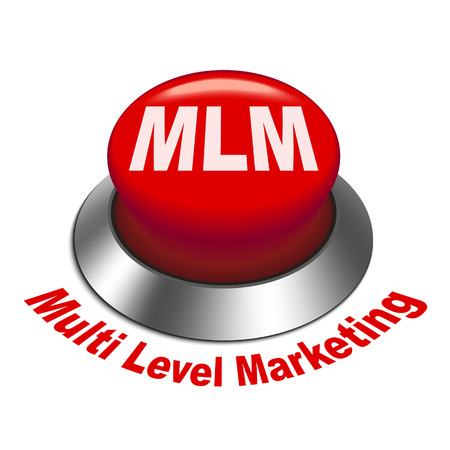 mlm: 3d illustration of MLM   Multi Level Marketing  button isolated white background