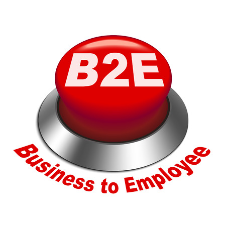 b2e: 3d illustration of b2e business to employee button isolated white background