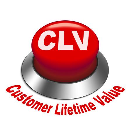 3d illustration of clv - customer lifetime value button isolated white background Illustration
