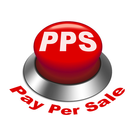 advertiser: 3d illustration of pps pay per sale button isolated white background Illustration