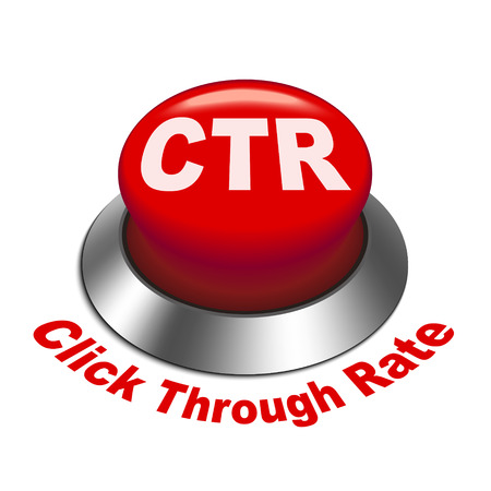 3d illustration of ctr click through rate button isolated white background