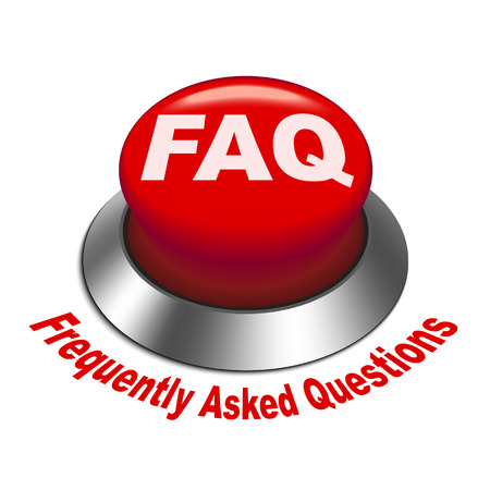 frequently: 3d illustration of faq  frequently asked questions  button isolated white background Illustration