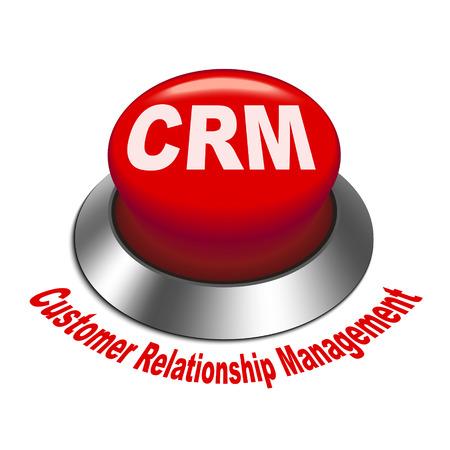 relationship management: 3d illustration of crm  Customer Relationship Management  button isolated white background Illustration