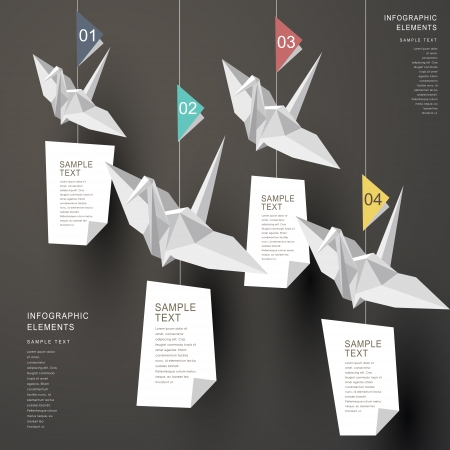 crane fly: modern vector abstract origami paper cranes infographic elements Illustration