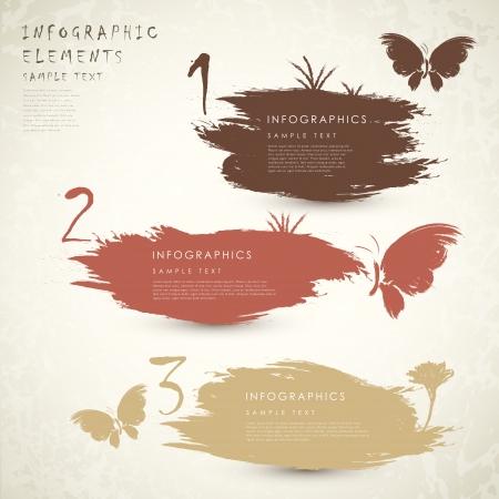 vector clássico estilo abstrato bandeira elementos infográfico com borboletas