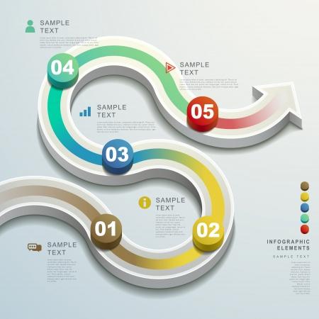 modern vector abstract 3d arrow flow chart infographic elements