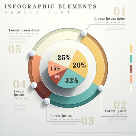 grafica de pastel: diseño plano de vectores circulares elementos abstractos carta infographic