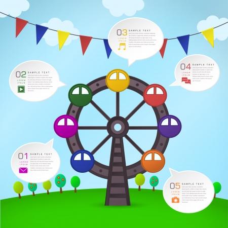 ferris wheel: modern vector abstract Ferris Wheel infographic elements