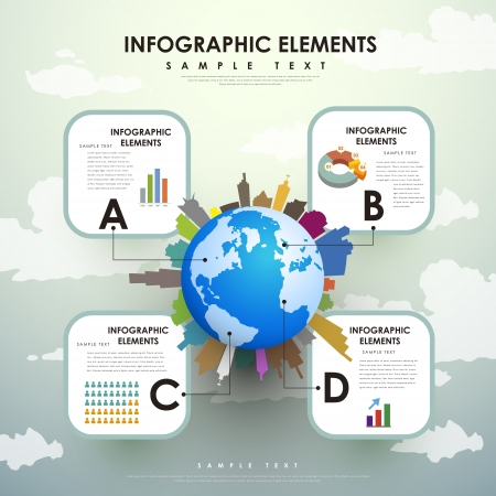 modern vector abstract globe infographic elements Vector