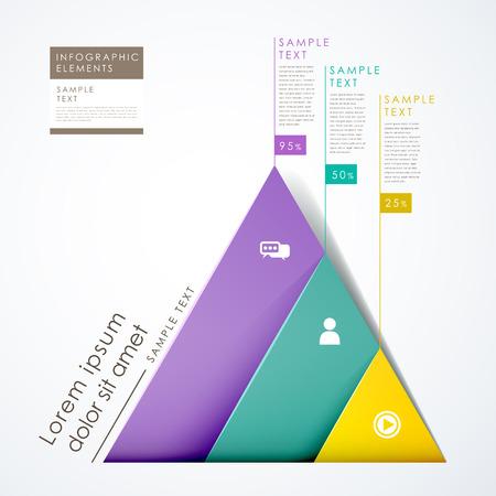 3 d ペーパー現代ベクトル抽象的なピラミッド インフォ グラフィック要素  イラスト・ベクター素材