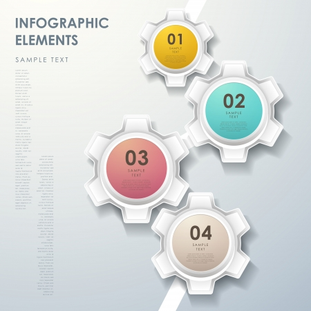 modern vector abstract gear flow chart infographic elements
