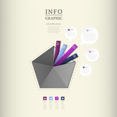 pentagon: modern vector abstract pentagon infographic elements Illustration