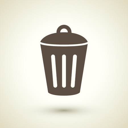 waste basket: retro style trash can icon isolated on brown