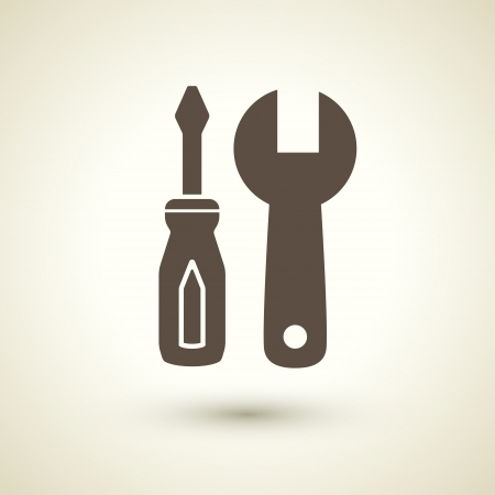 retro style tools icon isolated on brown Vector