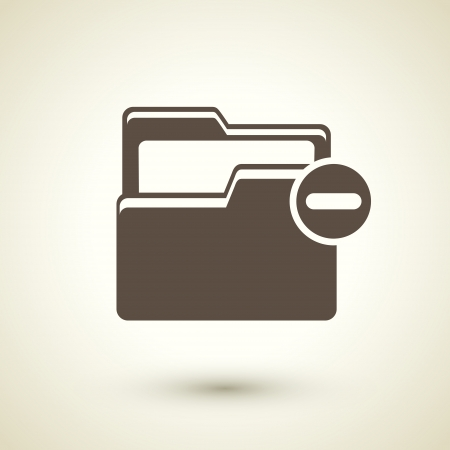 retro style folder minus icon isolated on brown Vector