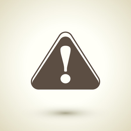 error message: retro style attention sign with exclamation mark icon isolated on brown