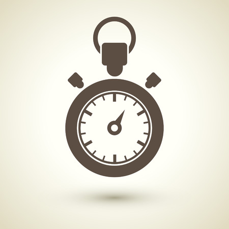 the end of time: retro style stopwatch icon isolated on brown
