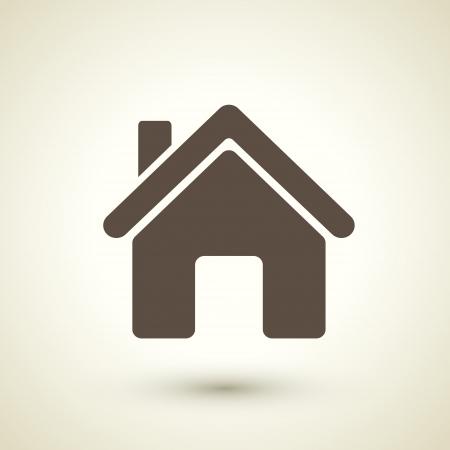 icono: icono de la casa de estilo retro aislada en marrón