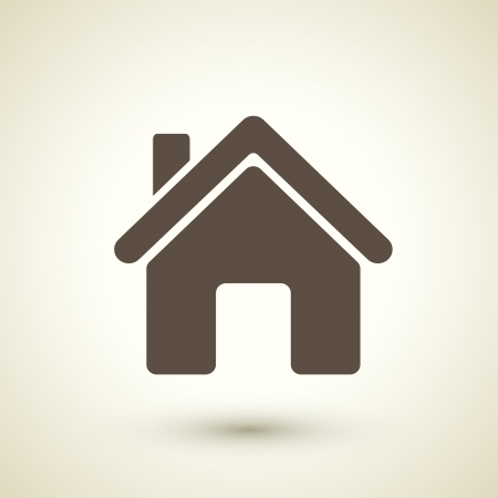 residential homes: retro style home icon isolated on brown Illustration