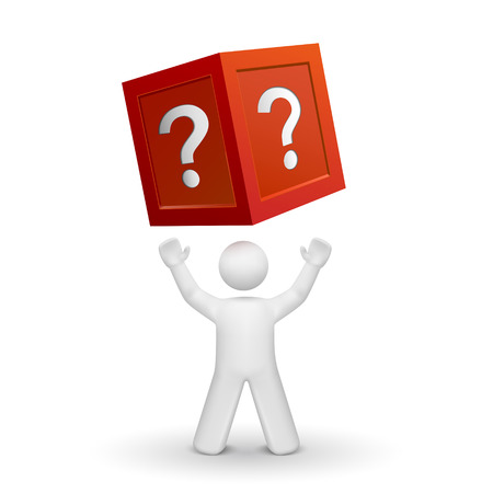 question mark: 3D Person nach oben auf ein Feld mit Fragezeichen isoliert auf wei�em Hintergrund