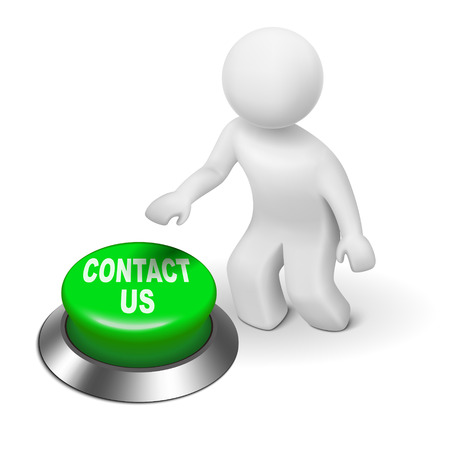 contactus: 3d human character pressing a button contact us isolated white background