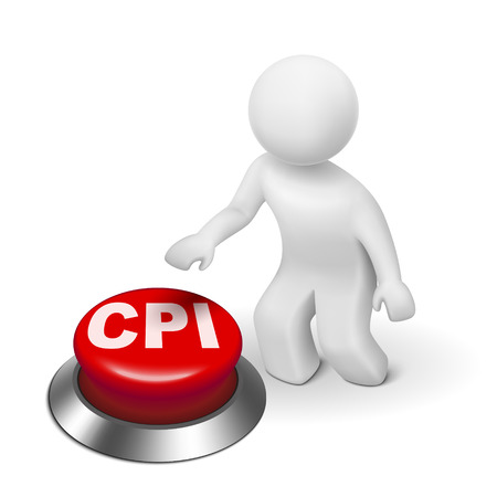 weighted: 3d man with CPI ( Consumer Price Index ) button isolated white background