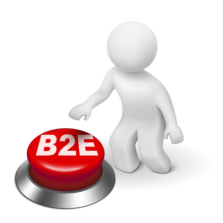 b2e: 3d man with b2e business to employee button isolated white background