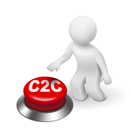 b2e: 3d man with c2c client to client button isolated white background