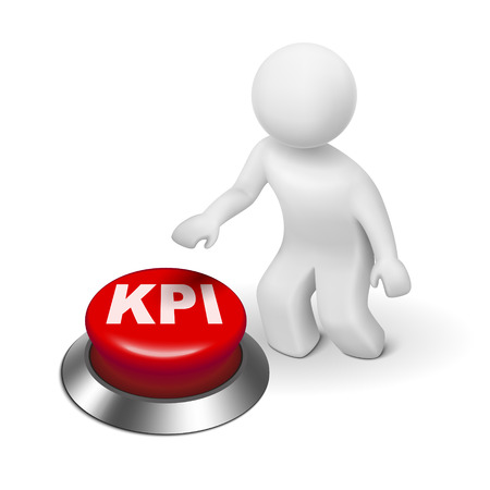 commerce and industry: 3d man with KPI ( Key Performance Indicator ) button isolated white background