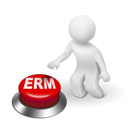 online safety: 3d man with erm enterprise risk management button isolated white background  Illustration