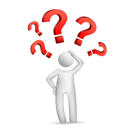Uomo 3d che pensa con i punti interrogativi rossi sopra fondo bianco