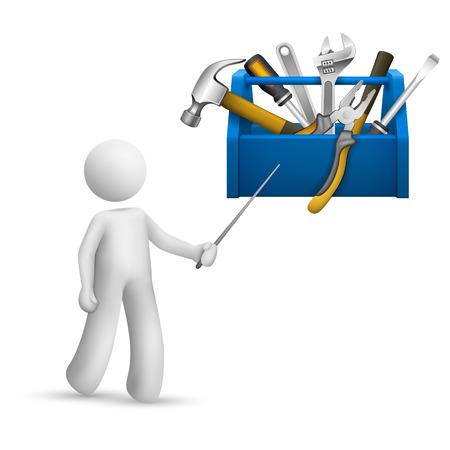 box cutter: Persona 3d que se�ala en una caja de herramientas con herramientas aisladas fondo blanco