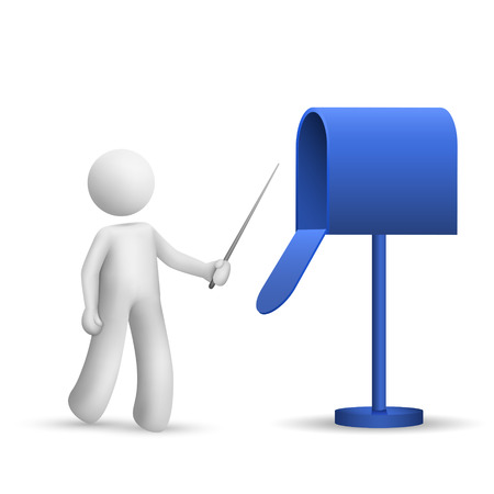 3d person pointing to a mail box isolated white background Vector