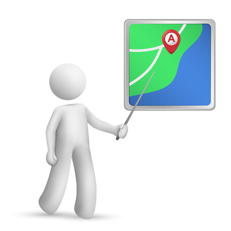 3d person pointing at a navigator with a stick over white background Vector