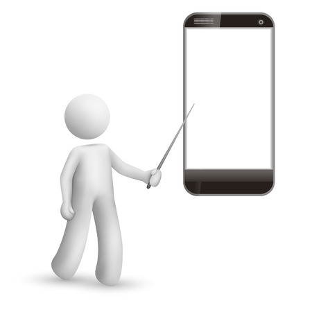 3d man pointing at a mobile phone isolated white background Vector
