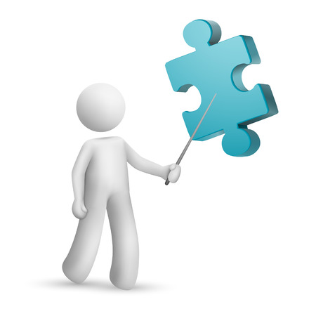 work piece: 3d person pointing at a puzzle isolated white background Illustration