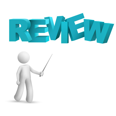 3d person pointing at a word  review  isolated white background Stock Vector - 25023827