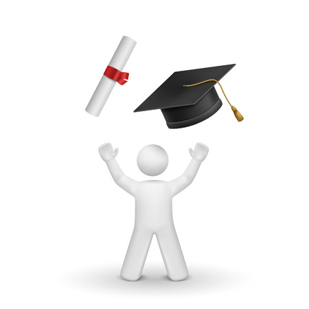 3d bachelor looking upon the graduation cap and diploma isolated white background