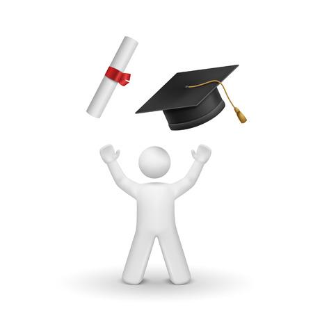 3d de soltero en busca de la gorra de graduación y diploma aislados fondo blanco Foto de archivo - 25023890