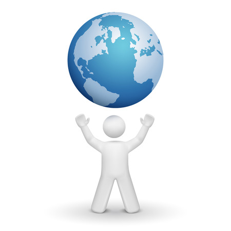 3d person looking up at a global isolated white background Vector