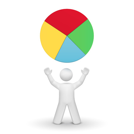 person looking: 3d person looking up at pie chart isolated white background Illustration