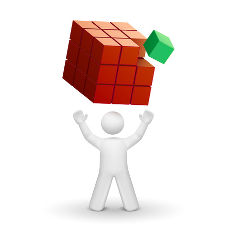 building activity: 3d person looking up at the boxes isolated white background