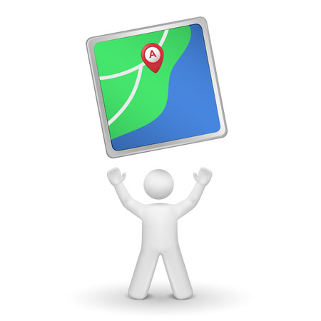 person looking: 3d person looking upon a navigator isolated white background