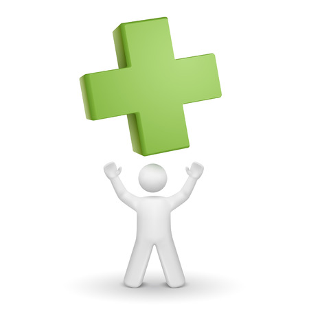 3d person looking up at a green cross isolated white background Vector