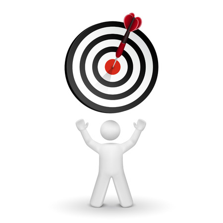 achieve goal: 3d person looking up at dart hitting a target isolated white background Illustration