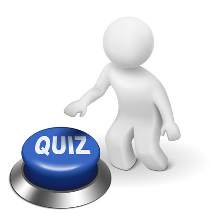 quiz test: 3d man is pushing the quiz button isolated white background