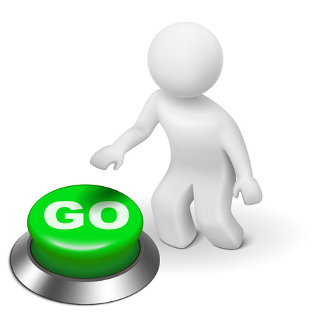 save button: 3d man is pushing the GO button isolated white background